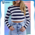 Navy Stripe Back Wrap Long Sleeve Cropped T-shirt /cotton black and white striped crop top t shirt