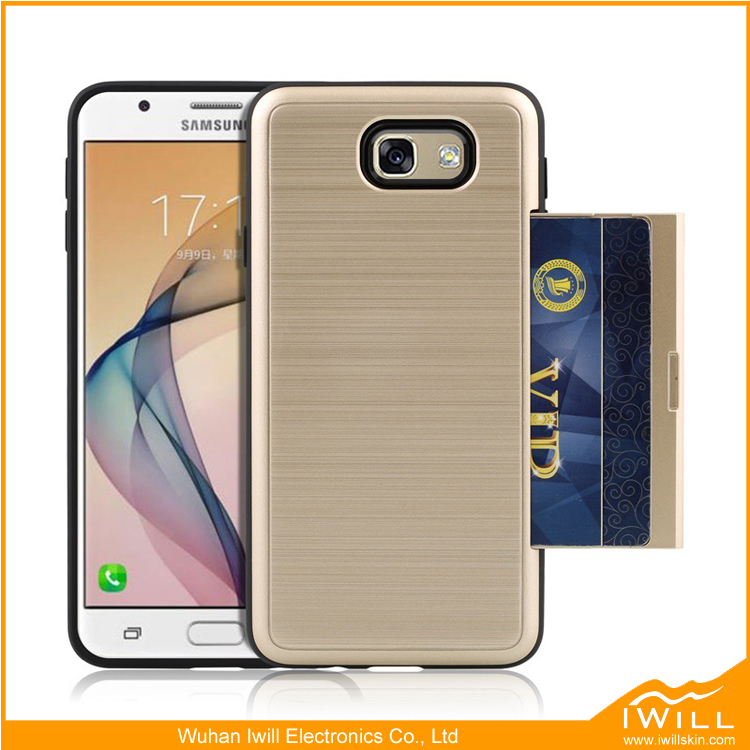 Brushed Hair Line Case For Samsung J7 Prime Silicone Phone Card Slot Cover