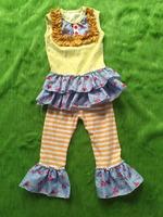 2017 New Fashion Summer Kids Set Baby Girls bib ruffle sleeveless t-shirt matching striped ruffle cotton long pant