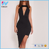 2017 Fashion black micro mini sexy dress Cut Out Plunge Asymmetric Sexy Mini Dresses For Women