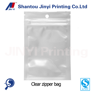clear self adhesive seal plastic zipper bag with hanger hole