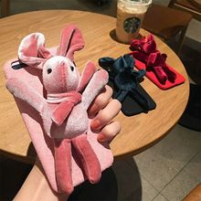 Lovely Plush Cartoon 3D Dolls Rabbit Phone Case fashion winter warm exquisite velvet cloth cover for iphone 8 8Plus 6 6s 7