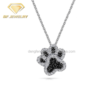 Bling Footprint Shape Chunky Kid Pendant Charm Necklace Jewelry