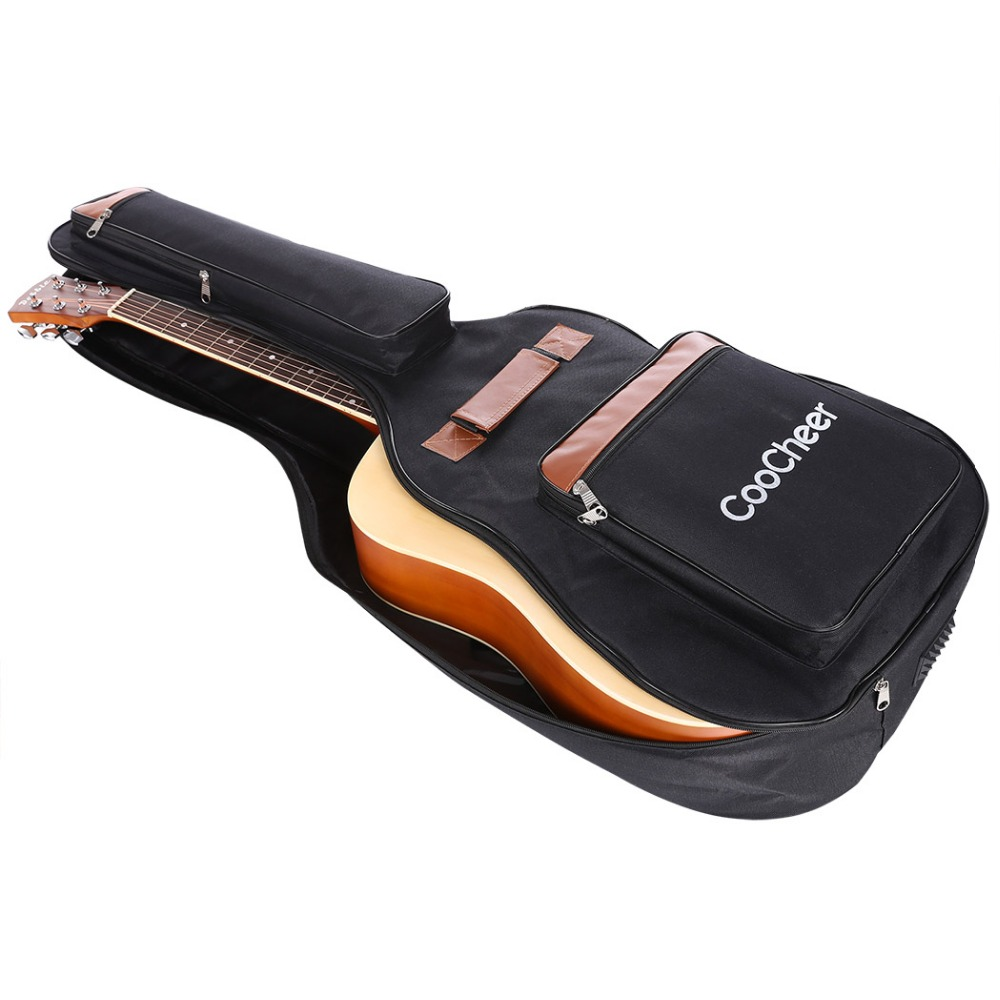 CooCheer 600D Oxford Acoustic Guitar Bag 5-Pocket Padded Gig Bag with Guitar Strap and 12 Pick Samplers AM002527