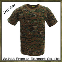 Digital woodland camo Comfortable short sleeve camouflage t shirt