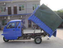 200CC Water Cool Engine Hydraulic Lift Dump Automatic Dumping Cargo Tricycle with Tarpaulin Wagon