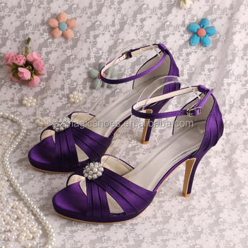 Purple Satin Wedding Platform Heels Sandals - Buy Purple Satin ...