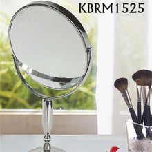 Silver metal framed two way cosmetic standing mirror