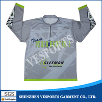 Wholesale sublimation polyester long sleeve fishing apparel customized design fishing shirts for men