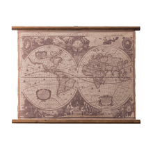 Vintage Style World Map Fabric Painting Wall Picture