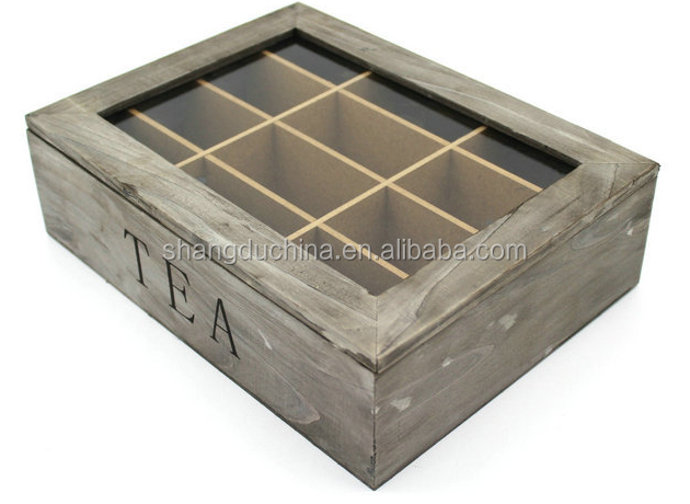 High qualtiy factory supplied painted wooden tea bags storage box with compartments