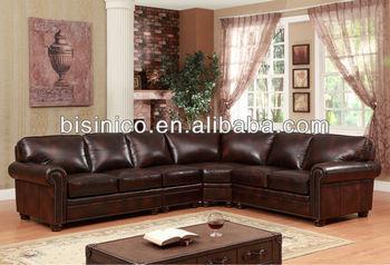 Antique American Corner Sofa U Shaped Living Room Sofa Set Leisure