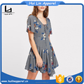 boutique clothing flower print lace up plunge neck paneled flowy high quality women dress