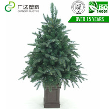 2017 new design iron feet green leaf decoration artificial christmas tree
