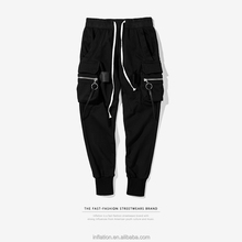 INFLATION 2017 Autumn Mens Joggers Casual Pants Hip Hop Ribbon Men Sweatpants With Zipper Stereo Pockets Men Harem Pants 337W17