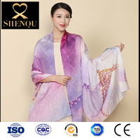women scarf wholesaler high quality digital printed 100% pure silk chiffon scarf shawl muslim shawl wraps