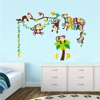 Removeable PVC wall sticker cartoon wall paper cartoon monkeys and banana tree home decor for baby room(ZYPA1217)