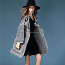 big pockets thick overcoat above knee length full sleeve O-neck mix wool flax jackets tassel decorate cardigan sweater coats