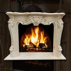 Luxury indoor decoration hand carved beige marble fireplace