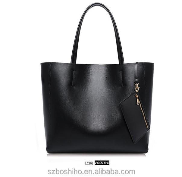 Custom Women Leather Tote Bag with purse Simple Style Black Color PU Leather Girl Lady Handbag with Large Capacity Shopping