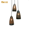 european hollow out decoration triple vintage metal pendant lamp