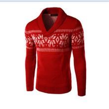 Autumn snow pattern pullovers workwear cheap deep v neck sweaters men