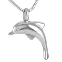 Stainless Steel Color Dolphin With Crystal Cremation Pendant Necklace For Women Love Gift Pet/Human Ashes Pendant Animal Jewelry