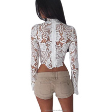 2017 winnerclothes Women Lace Crochet Blouses Sexy See Through Hollow Out Long Floral Embroidery Tops Blouses