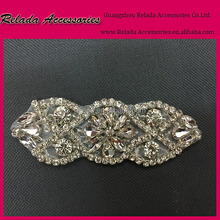 Factory wholesale Elegant bridal gold and silver rhinestone appliques work design for wedding dress