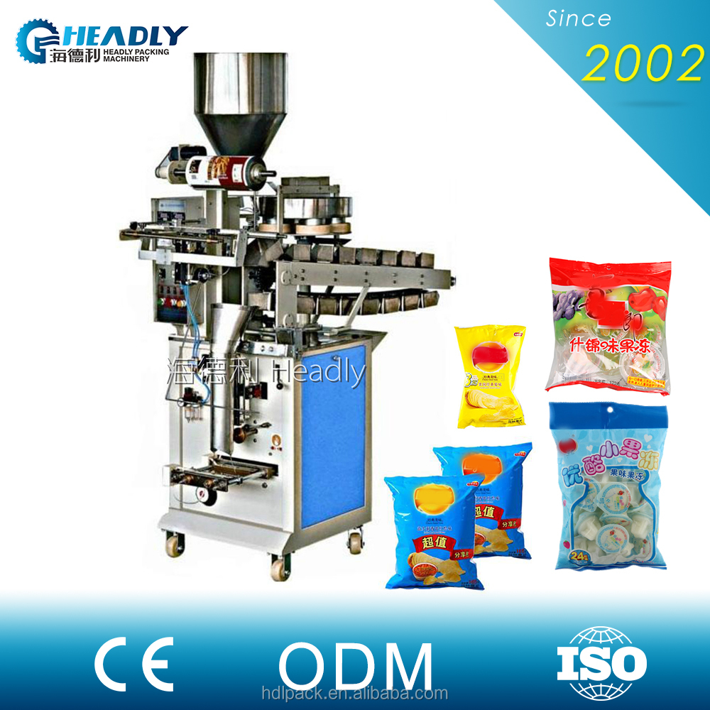 High speed bucket chain sandwich chocolate with plastic bag packaging machine