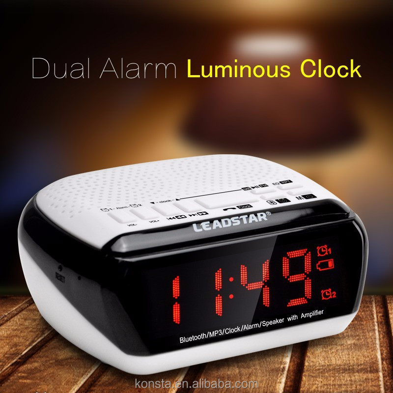New radio speaker mini digital clock with App remote aux in 10 hours music playing