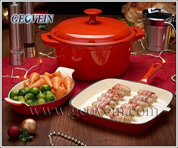 3 pcs set kitchen enamel cookware cast iron hot pot casserole set