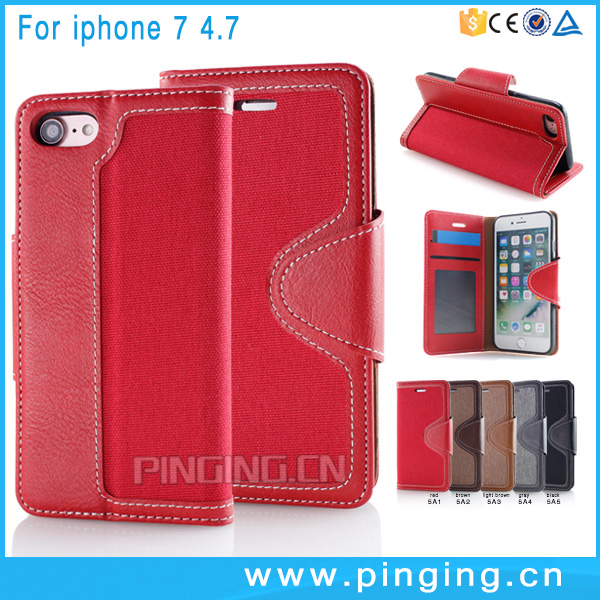 Denim Pattern Folio Stand PU Leather Wallet Cell Phone Cases For iPhone 7 Leather Phone Case