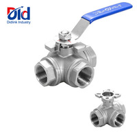 "Stainless Steel 1/2""- 4"" 3 Way T Type Internal Thread Manual Operated Mounting Pad Flanged Welding Ball Valves"