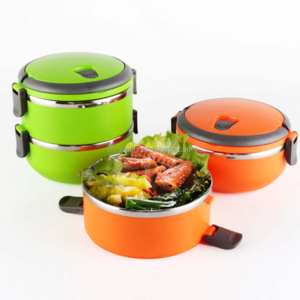 2016 new wholesale 2 layer colorful stainless steel hot lunch tiffin box /food carrier with handle made in China