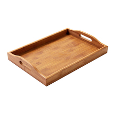 Country rustic bamboo wood food serving tray for home use
