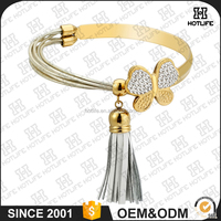 Elegant Design Charming Zircon Silver Genuine Leather Rope Gold Plating Stainless Steel Butterfly Love Bangle