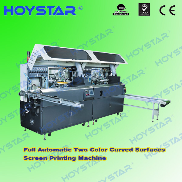 2color full automatic cylindrical serigraphy equipment with UV curing