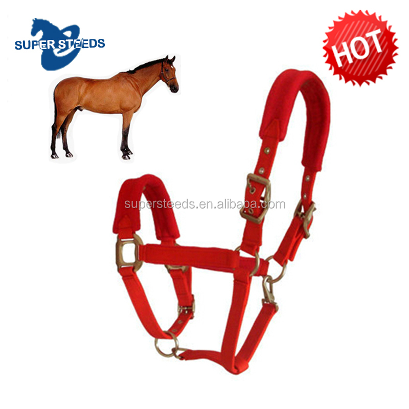 Red color Rope horse halter with copper buckles