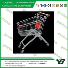 Hot sell galvanize and powder coating euro type 100 liter supermarket trolley with coin lock