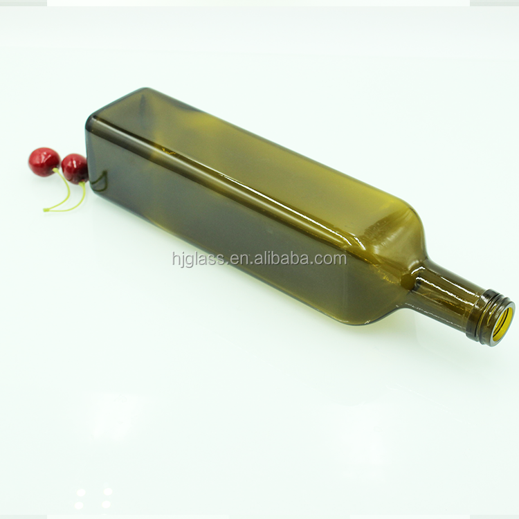 Square dark green 1000ml sunflower oil bottle big olive oil bottle glass with insert stopper