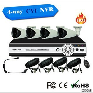 Bestseller 2014 Factory Price 4CH hd cvi dvr KIT 4PCS 720P IR Outdoor Weatherproof 24 LEDs cctv camera system