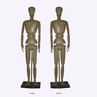 Articulated full body standing adjustable male wood mannequins