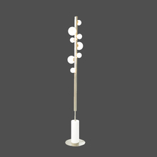 Modern Luxury 3000K LED Metal Pole And Round Glass Ball Hotel Floor Lamp With Natural Marble Stone Base