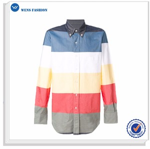 Multicolor Oxford Stripes Long Sleeve Casual Latest Shirt Buttons Designs For Men 2016