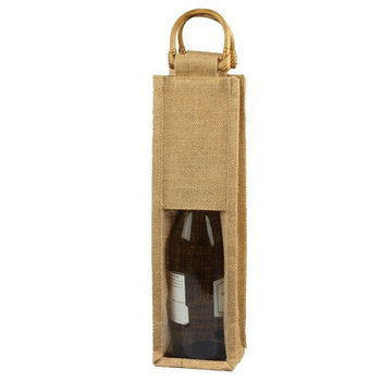 Clear window jute wine bag with wooden handle