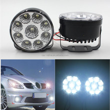 Bright White 9W LED Round Day Fog Light Head Lamp Auto Driving Fog Lamp Car LED Driving Running Light DRL