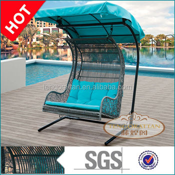 Outdoor PE rattan furniture garden weaving swing double hanging chair with canopy(Y9045W)