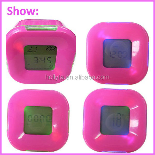Creative gifts discoloration four sides clock of rotation sensing Colorful four sides clock