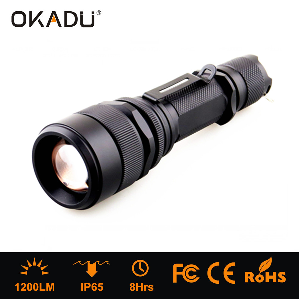 Most Popular Long Runtime 8 Hours 1200Lumen Zoom Bright CREE LED 18650 Rechargeable Tactical <strong>Flashlight</strong>